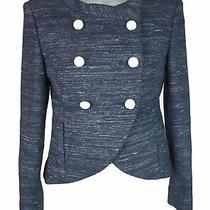 Women's Chanel Blue Metallic Tweed Double Breasted Blazer Jacket Size 36 Fr 4 Us Photo
