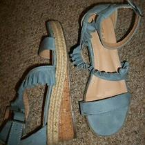 Women's Chase & Chloe Blue Ruffle Top Open Toe 2 1/4
