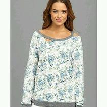 Women's Chaser La Vintage Deconstructed Floral Fleece Sweatshirt Top Sz S Nwt Photo
