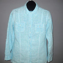 Women's Chico's Aqua and White Linen Button Down Shirt Roll Tab Sleeves Size 1 Photo