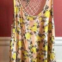 Womens Chloe K Yellow/peach Floral Tank Top W/lace Back Size-Xs Photo
