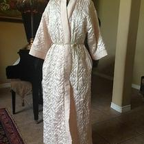 Women's - Christian Dior - Vtg Quilted Satin Vanity Robe / Coat - Ivory - Sz Sm Photo
