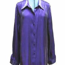 Women's Christie & Jill Iridescent Purple Rayon Long Sleeved Blouse Size 18 Photo