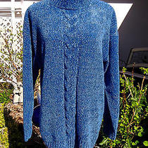Women's christie&jill Sweater Blue Cable Over-Sized /m Euc Photo