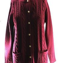 Women's Classic Elements Burgundy 100% Acrylic Solid Sweater Size M Photo