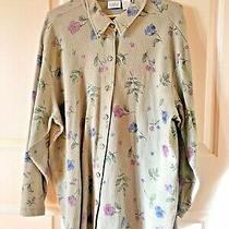 Women's Classic Elements Collared Long-Sleeved Shirt Sage Green W/flowers Size3x Photo
