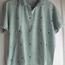 Women's Classic Elements Green Print Cotton Polo T-Shirt Size Xl Photo
