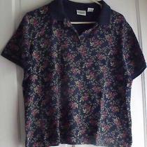 Women's Classic Elements Navy   Print Cotton Polo T-Shirt Size L Photo
