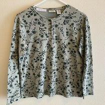 Women's Classic Elements Petite Top Size Ps Green Floral Long Sleeves Photo