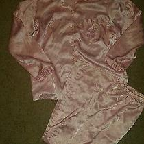Women's Classic Elements Pink Floral Satin 2 Piece Pajama Set Size Medium  Photo