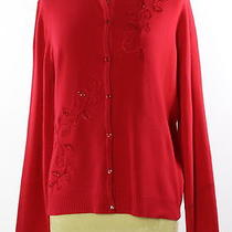 Women's Classic Elements Red Acrylic Solid Button Down Size Xl Photo