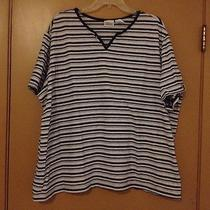 Women's Classic Elements Shirt Size 24-26w Black White Gray Striped Short Sleeve Photo