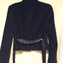 Women's Club Monaco Black Velvet Jacket With Beautiful Beading    Lqqk Photo