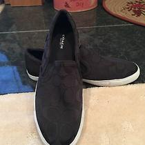 Women's Coach Alegra Slip on Sneakers Shoes Size 8.5 Black Signature Canvas New Photo