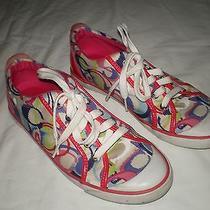 Women's Coach Barrett Signature Print Athletic Casual Shoes Pink Multi 9b 9 B Photo