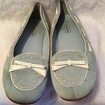 Women's Coach Blue Suede White Leather Trim Moccasins Ballet Flats Shoes Size 6 Photo
