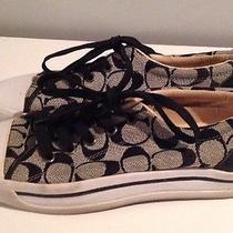 Women's Coach Canvas Sneakers Black and White Size 8 1/2 Photo