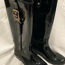 Women's Coach Glossy Black Rubber Rain Boots Gold Buckle Size 7 Photo