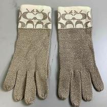 Women's Coach Gold Knit Gloves Size Osfa Photo