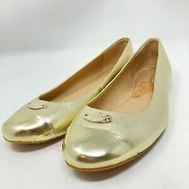 Women's Coach Gold Metallic Ashley Ballet Flats Size 8.5b Eur 38.5 Slip on Shoes Photo