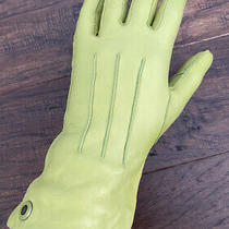 Womens Coach Green Genuine Leather and Cashmere Gloves Photo