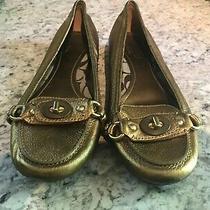 Women's Coach Katrin Bronze Gold Ballet Turn Lock Flat Loafers Size 8.5 Shoes Photo