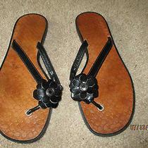 Women's Coach Lindy Black Patent Flip Flop Sandals Size 7.5 M Photo