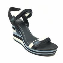 Women's Coach Mylar Strappy Wedge Sandals Shoes Size 9.5 Blue White Black M10 Photo