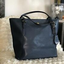 Women's Coach Navy Blue Tote Leather Large Handbag Photo