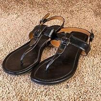 Womens Coach Patent Leather T-Snap Sandal Cassidy Brown Size 8 B Photo