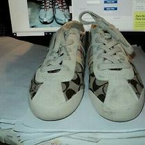 Women's Coach Signature Leatherware Sneakers Paxton 12cm A1730 Size 8.5 Lace Up Photo