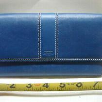 Womens Coach Slim Blue Leatherwear Envelope Style Wallet Photo