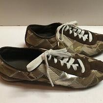 Women's Coach Sz 6 1/2 M Tidy Signature Sneakers Brown White  Photo