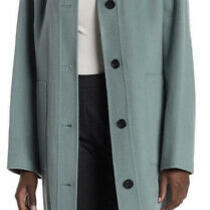 Women's Coat Theory Hooded Patch Pocket Coat Wool Cashmere Wintergreen Blue Xs Photo