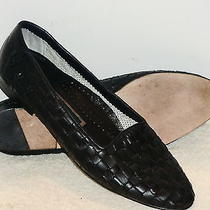 Women's Cole Haan Black Woven Leather Slip-Ons/flats Sz 8 1/2aaa  Made in Italy Photo