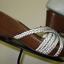 Women's Cole Haan White Woven Strappy Nike Air Slide Sandal Sz. 7.5b Minty Photo