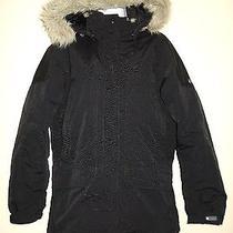 Women's Columbia Black Faux Fur Lined Hooded Winter Snow Ski Jacket Size Medium Photo