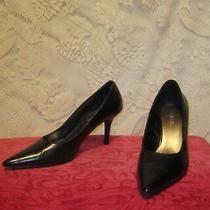 Women's Connie High Heels Pumps Leather Point Toe Black Size 6.5m Excellent Photo