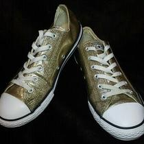 Women's Converse All Star Dainty Gold Glitter Lowtop Sneakers Size 7.5 Photo