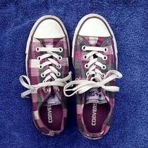 Women's Converse All Star Purple Plaid Low-Tops Size 5 Photo