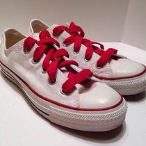 Women's Converse Size 6 White Low Top Shoes Red Laces Chuck Taylor All Star Photo