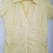 Women's Cotton Express Stretch Butter Yellow Pleated Smocked Accent Top Shirt 2x Photo