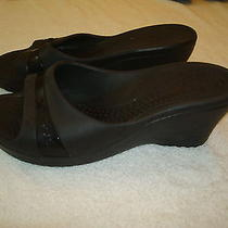 Women's Crocs Black Slide Wedge Shoes Sandals-7 Photo