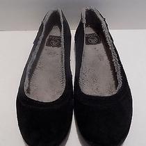 Women's Crocs Black Suede Faux Fur Lined Flats Us Size 8 Photo