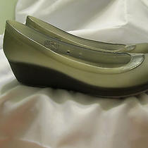 Women's Crocs Carlisa Mini Wedge Size 10 Transluscent Grey Photo