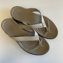 Women's Crocs Dual Comfort Tan Beige Sandals Size 9 W Summer Thong Flip Flops Photo