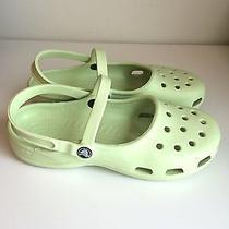 Women's Crocs Mary Janes Slingbacks Flats Yellow Shoes Size 9m Photo