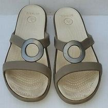 Womens Crocs Natural Color Slip on Sandals Size 8 W in Excellent Condition  Photo