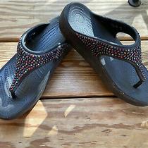 Women's Crocs Sloane Diamante Sparkle Thong Sandals Black Size 9 Photo