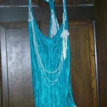 Women's Dark Aqua Blue Lace Trim Tunic With Attached Necklace 2x Nwt Photo